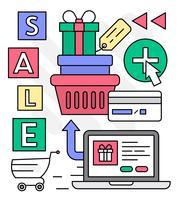 Lineare on-line-Geschenk-Einkaufsvektor-Illustration