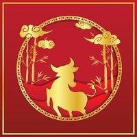 rotes und goldenes Silhouette-Design des chinesischen Neujahrs vektor