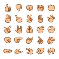 tecknade händer gester ikonuppsättning