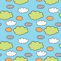 handgezeichnetes und farbiges Wolkenmuster vektor