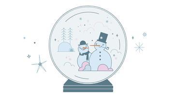 Schneekugel-Schneemann-Vektor