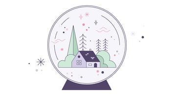 Schneekugel-Haus-Vektor