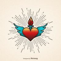 Flammande hjärta med vingar vektor illustration
