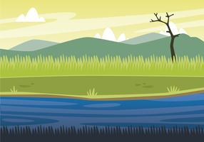 Sumpflandschaft mit Gebirgshintergrund vektor