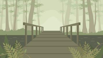 Alte Holzbrücke im freien Vektor Bayou
