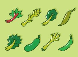 Handdragen Grön Vegetabilisk Vektor