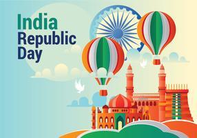 Hälsningskortdesign på himmelblå bakgrund för lycklig republikens dag firande med origami stil vektor