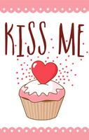 kyss mig valentinkort vektor