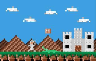 Videospiel-Held-Weinlese-Landschaftsvektor-Illustration