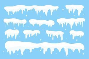 Schneekappensammlung. weißer Schnee fällt im Winter vektor