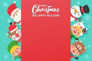 Cartoon Santa und Freunde mit Kopierraum vektor