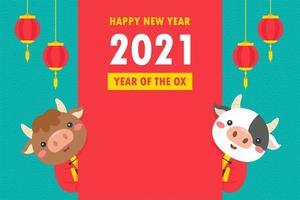 chinesische Neujahrskühe mit Grußbanner