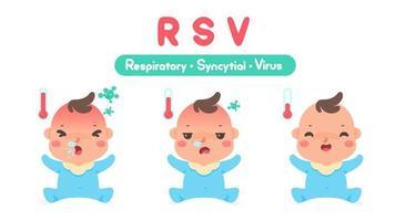 Cartoon krankes Kind mit hohem Fieber von einem Virus vektor