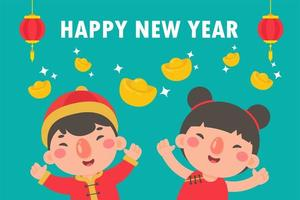 kinesiska barn som bär nationella röda kläder för nytt år vektor