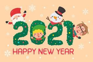 jultecken i 2021-text vektor