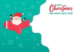 santa flyger plan på snöig juldag vektor