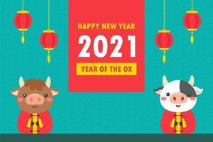 chinesische Neujahrskühe mit Grußbanner vektor
