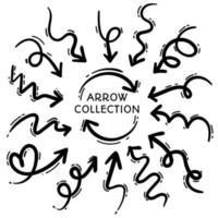 Sammlung von Freihandpfeilen mit schwarzen Linien vektor