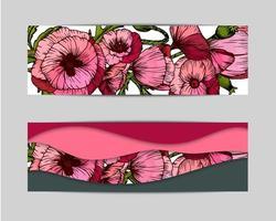 Blumenhochzeitsverzierungskonzept im Hand gezeichneten Stil.