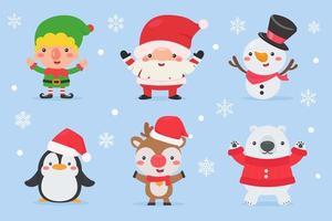 Sammlung von niedlichen Weihnachtszeichentrickfiguren vektor
