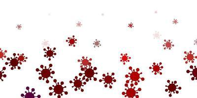 hellroter Hintergrund mit Virensymbolen.