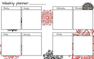 Wochenplaner mit Blumenmandala. vektor