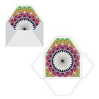 Mandala Muster Papierhülle Vorlage. vektor