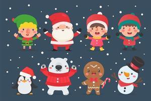 santa, en snögubbe, en älva och andra julkaraktärer