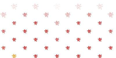 ljusröd bakgrund med virussymboler.