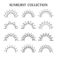 Sammlung von Black Line Art Sunbursts vektor