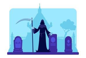 Sensenmann mit Sense auf dem Friedhof vektor