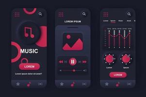 Musik-Player einzigartiges neumorphisches Design-Kit vektor