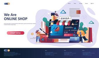 online shopping platt målsidesmall. vektor