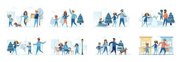 Familie im Winterpark Bündel von Szenen mit flachen Menschen Zeichen vektor