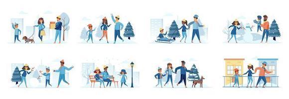 familj i vinter park bunt av scener med platta människor karaktärer