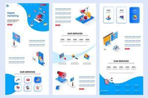 Isometrische Zielseite für digitales Marketing. vektor