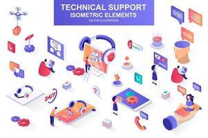 Bündel isometrischer Elemente für den technischen Support. vektor