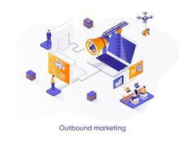 Isometrisches Webbanner für Outbound-Marketing.