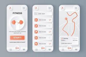 Fitness-Monitor einzigartige neumorphische Design-Kit vektor