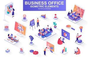 business office bunt av isometriska element.