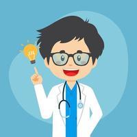 Arzt zeigt Geste der großen Idee vektor