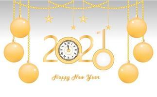 Neujahr 2021 Design mit hängenden Ornamenten und Uhr