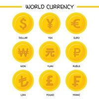 Sammlung von Weltwährungssymbolen
