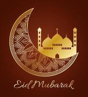 eid mubarak firande banner med guldmånen vektor
