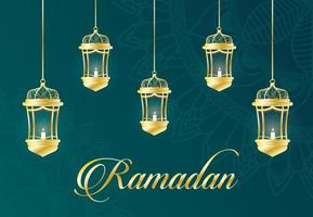 Ramadan Feier Banner mit goldenen Lampen vektor