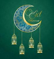 Eid Mubarak Feier Banner mit Goldmond