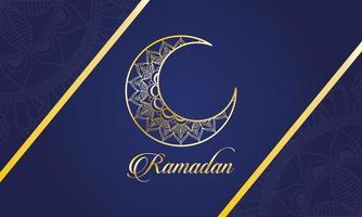 ramadan firande banner med guldmånen vektor