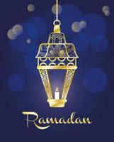 Ramadan Feier Banner mit Goldlampe