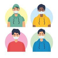 ungdomars karaktärer med ansiktsmasker vektor