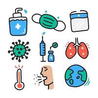 uppsättning medicinska tecknade klotter om koronaviruspandemi vektor